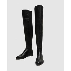 Zara Flat Leather Over-the-knee Boots, Size 8